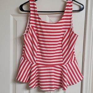 Tops - Orange and white striped peplum top